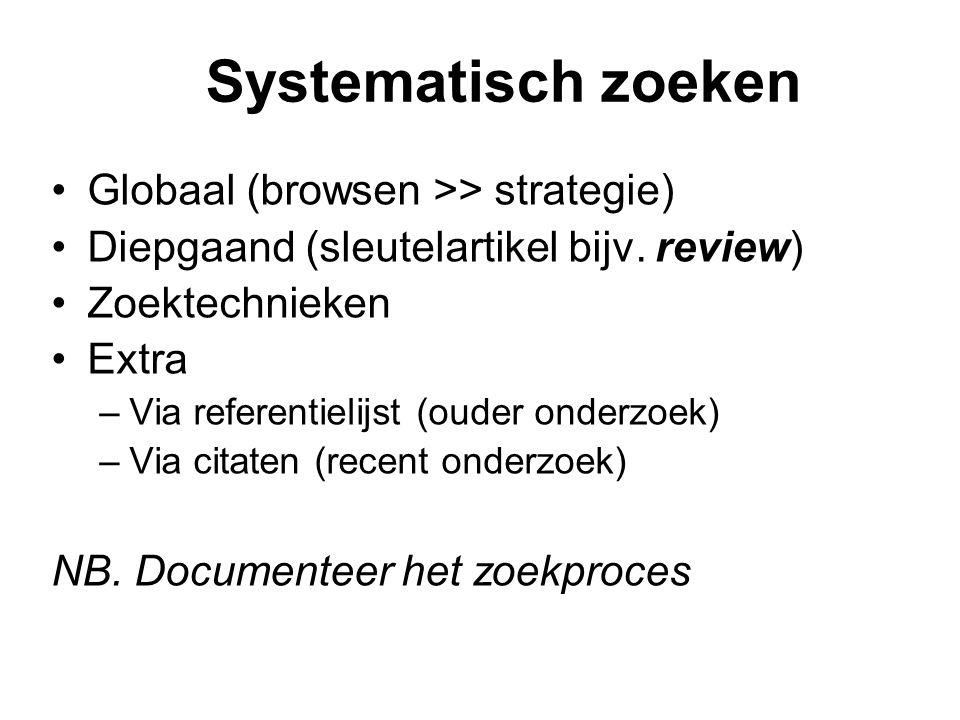 Systematisch zoeken Globaal (browsen >> strategie) Diepgaand (sleutelartikel bijv. review) Zoektechnieken Extra –Via referentielijst (ouder onderzoek)