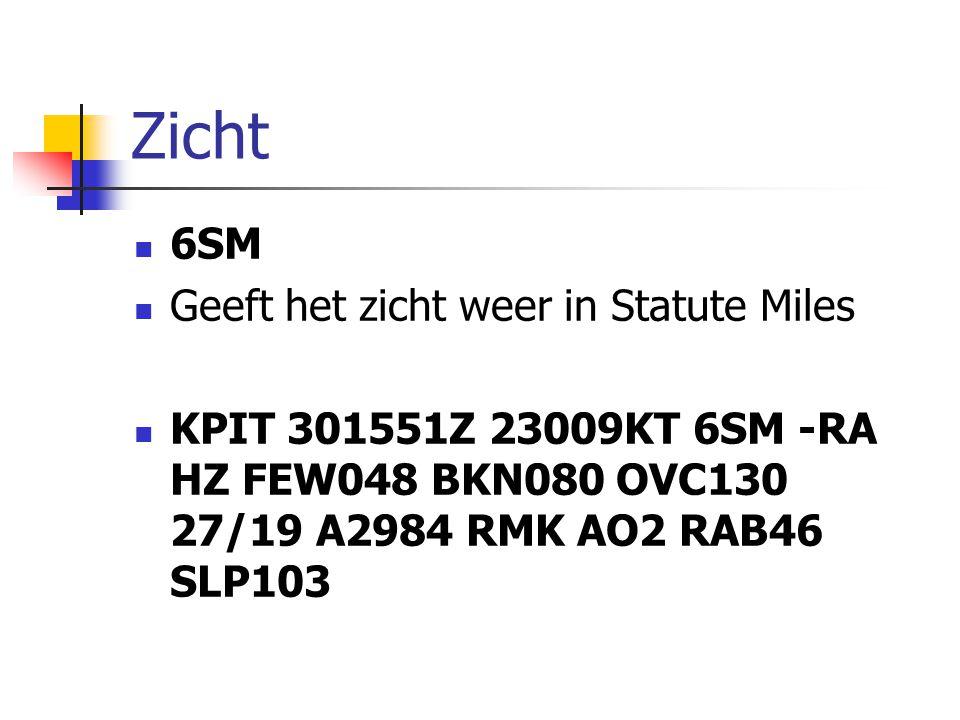 Zicht 6SM Geeft het zicht weer in Statute Miles KPIT 301551Z 23009KT 6SM -RA HZ FEW048 BKN080 OVC130 27/19 A2984 RMK AO2 RAB46 SLP103