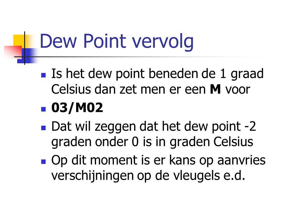 Dew Point vervolg Is het dew point beneden de 1 graad Celsius dan zet men er een M voor 03/M02 Dat wil zeggen dat het dew point -2 graden onder 0 is in graden Celsius Op dit moment is er kans op aanvries verschijningen op de vleugels e.d.