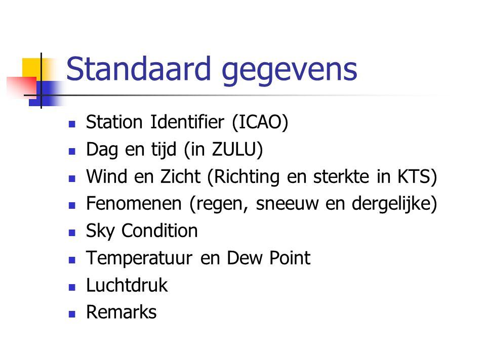 Standaard gegevens Station Identifier (ICAO) Dag en tijd (in ZULU) Wind en Zicht (Richting en sterkte in KTS) Fenomenen (regen, sneeuw en dergelijke) Sky Condition Temperatuur en Dew Point Luchtdruk Remarks