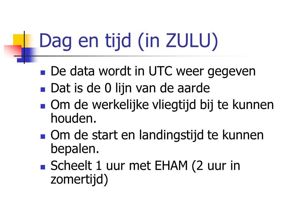 Dag en tijd (in ZULU) De data wordt in UTC weer gegeven Dat is de 0 lijn van de aarde Om de werkelijke vliegtijd bij te kunnen houden.
