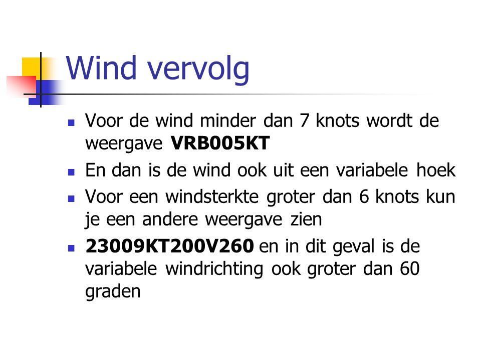 Wind vervolg Voor de wind minder dan 7 knots wordt de weergave VRB005KT En dan is de wind ook uit een variabele hoek Voor een windsterkte groter dan 6 knots kun je een andere weergave zien 23009KT200V260 en in dit geval is de variabele windrichting ook groter dan 60 graden