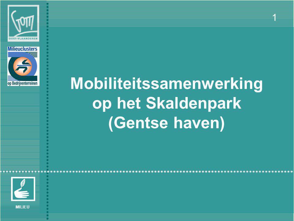 VMC Werkgroepvergadering 'Bedrijvenclusters en Mobiliteit' – Brussel 30/06/2005 1 MILIEU Mobiliteitssamenwerking op het Skaldenpark (Gentse haven)