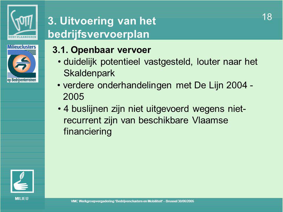 VMC Werkgroepvergadering 'Bedrijvenclusters en Mobiliteit' – Brussel 30/06/2005 18 MILIEU 3.