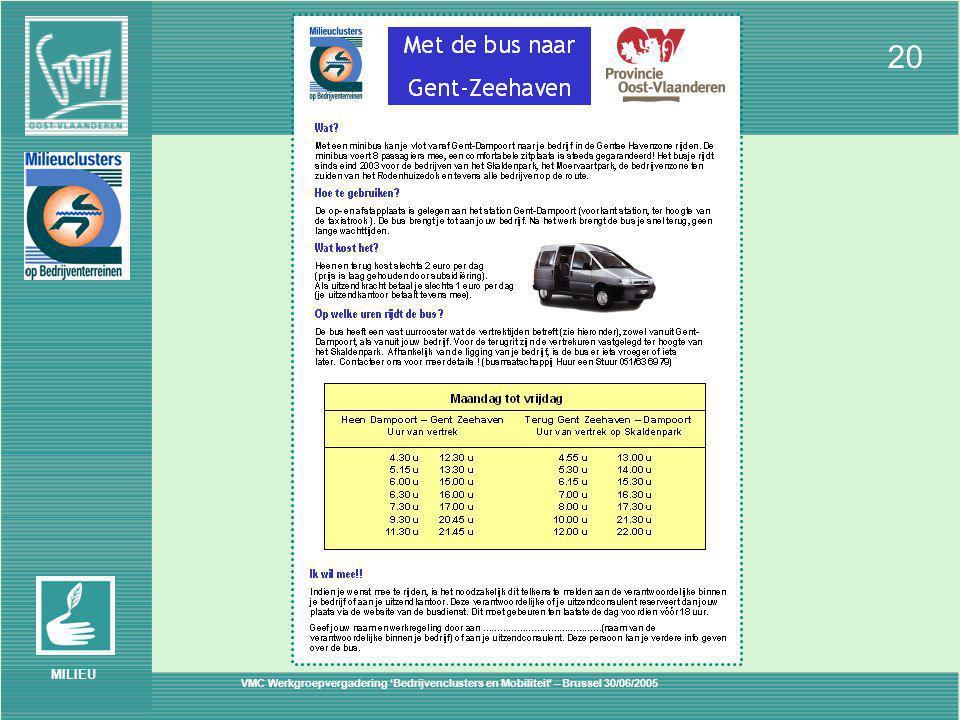 VMC Werkgroepvergadering 'Bedrijvenclusters en Mobiliteit' – Brussel 30/06/2005 20 MILIEU