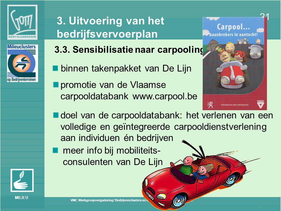 VMC Werkgroepvergadering 'Bedrijvenclusters en Mobiliteit' – Brussel 30/06/2005 21 MILIEU 3.