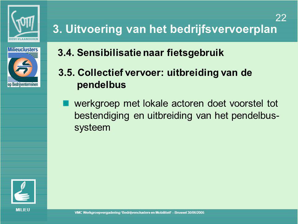 VMC Werkgroepvergadering 'Bedrijvenclusters en Mobiliteit' – Brussel 30/06/2005 22 MILIEU 3.