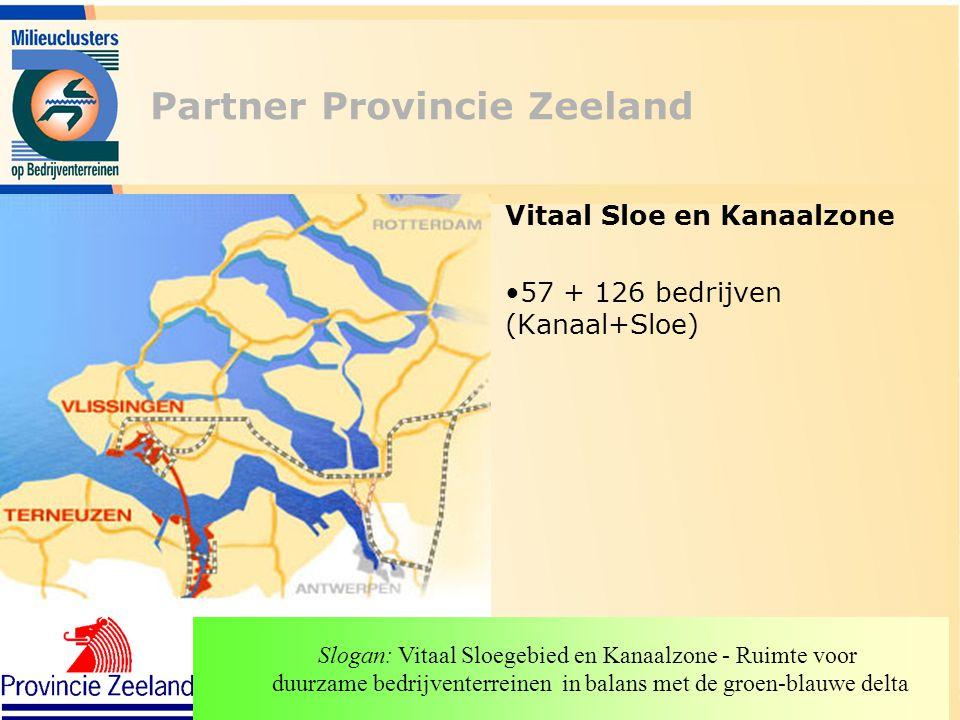Partner Provincie Zeeland Vitaal Sloe en Kanaalzone 57 + 126 bedrijven (Kanaal+Sloe) Slogan: Vitaal Sloegebied en Kanaalzone - Ruimte voor duurzame be