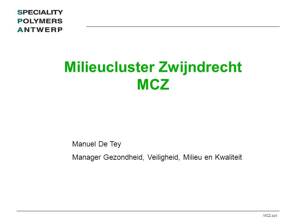 MCZ.ppt Milieucluster Zwijndrecht MCZ Manuel De Tey Manager Gezondheid, Veiligheid, Milieu en Kwaliteit