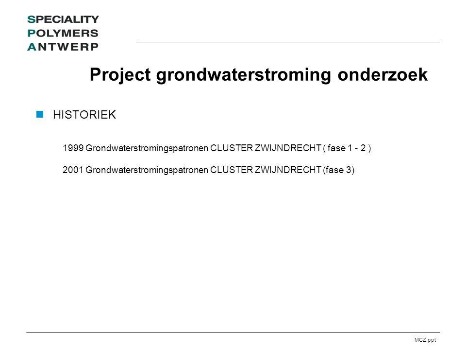 MCZ.ppt Project grondwaterstroming onderzoek HISTORIEK 1999 Grondwaterstromingspatronen CLUSTER ZWIJNDRECHT ( fase 1 - 2 ) 2001 Grondwaterstromingspatronen CLUSTER ZWIJNDRECHT (fase 3)