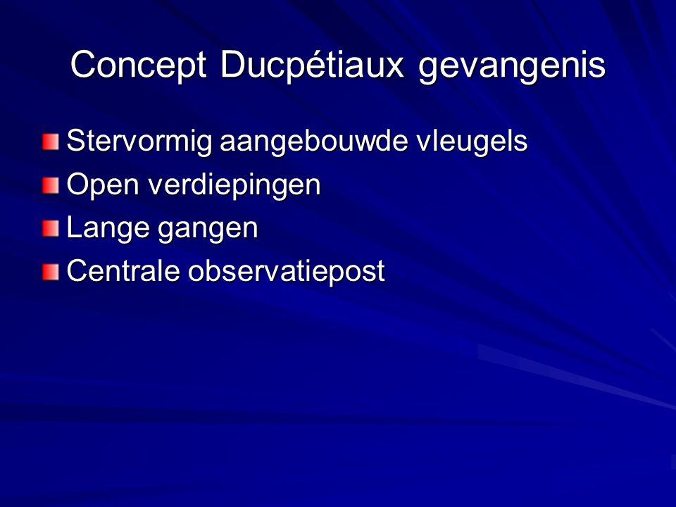 Concept Ducpétiaux gevangenis Stervormig aangebouwde vleugels Open verdiepingen Lange gangen Centrale observatiepost