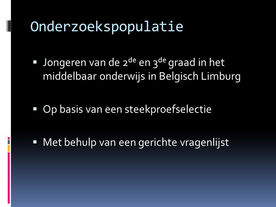 Onderzoekspopulatie  Jongeren van de 2 de en 3 de graad in het middelbaar onderwijs in Belgisch Limburg  Op basis van een steekproefselectie  Met behulp van een gerichte vragenlijst
