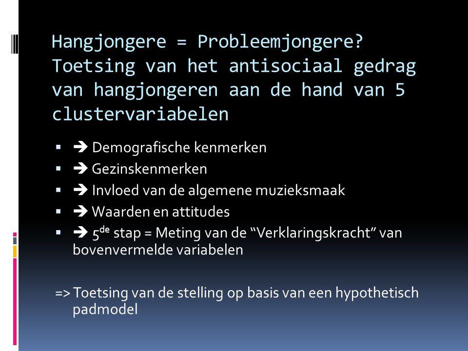Hangjongere = Probleemjongere? Toetsing van het antisociaal gedrag van hangjongeren aan de hand van 5 clustervariabelen   Demografische kenmerken 