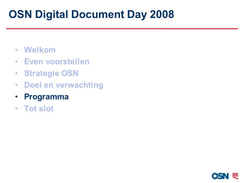 OSN Digital Document Day 2008 Welkom Even voorstellen Strategie OSN Doel en verwachting Programma Tot slot