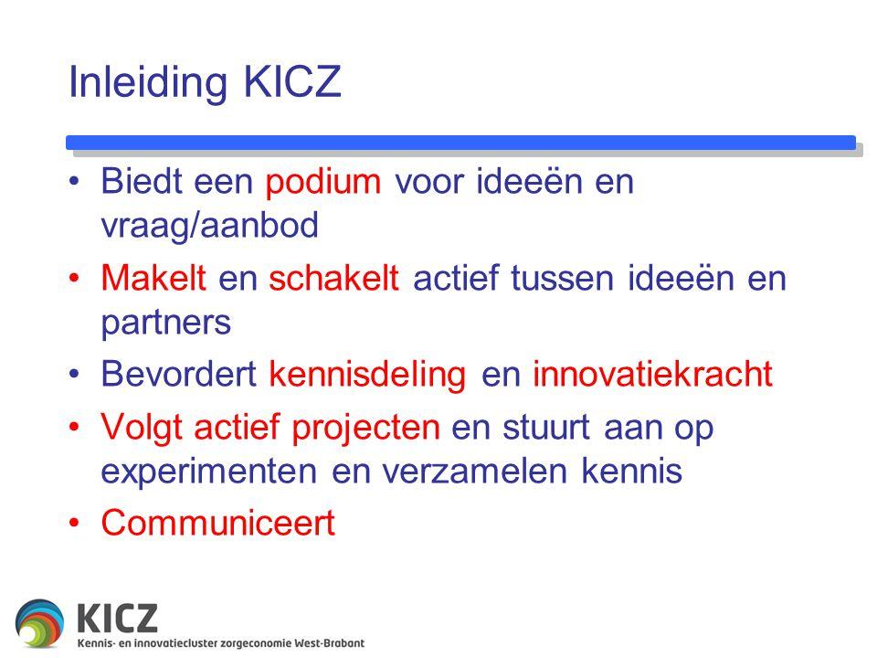 Inleiding KICZ Biedt een podium voor ideeën en vraag/aanbod Makelt en schakelt actief tussen ideeën en partners Bevordert kennisdeling en innovatiekracht Volgt actief projecten en stuurt aan op experimenten en verzamelen kennis Communiceert