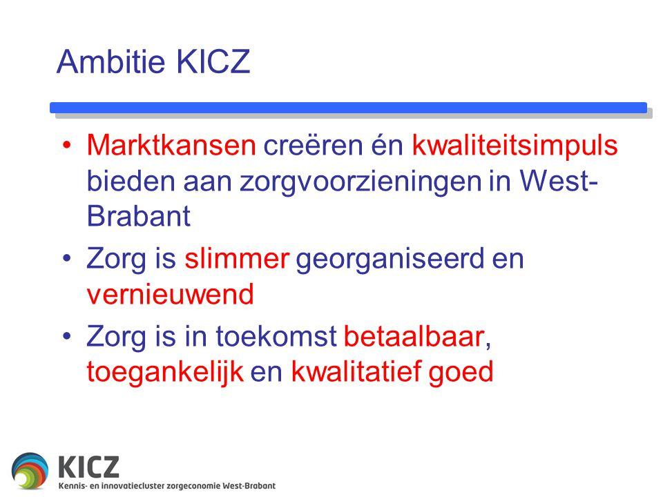 Ambitie KICZ Marktkansen creëren én kwaliteitsimpuls bieden aan zorgvoorzieningen in West- Brabant Zorg is slimmer georganiseerd en vernieuwend Zorg is in toekomst betaalbaar, toegankelijk en kwalitatief goed