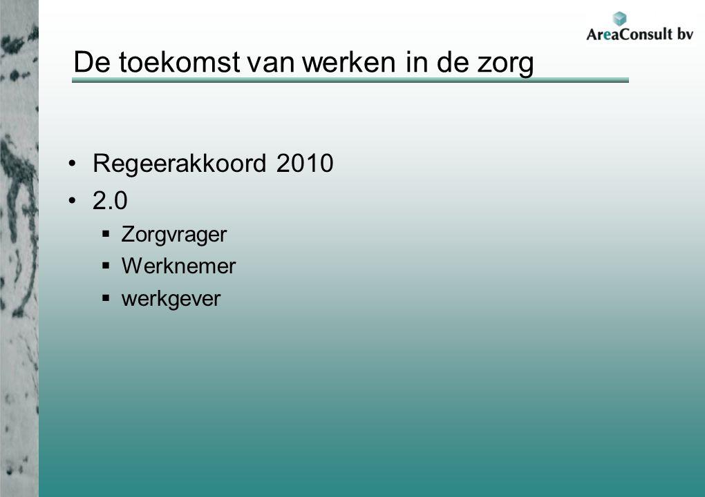 De toekomst van werken in de zorg Regeerakkoord 2010 2.0  Zorgvrager  Werknemer  werkgever