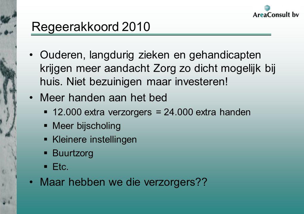 Regeerakkoord 2010 Ouderen, langdurig zieken en gehandicapten krijgen meer aandacht Zorg zo dicht mogelijk bij huis. Niet bezuinigen maar investeren!