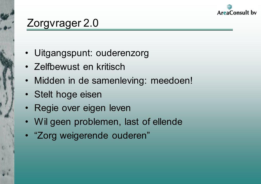 Zorgvrager 2.0 Uitgangspunt: ouderenzorg Zelfbewust en kritisch Midden in de samenleving: meedoen.