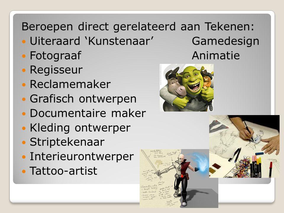 Beroepen direct gerelateerd aan Tekenen: Uiteraard 'Kunstenaar' Gamedesign FotograafAnimatie Regisseur Reclamemaker Grafisch ontwerpen Documentaire ma