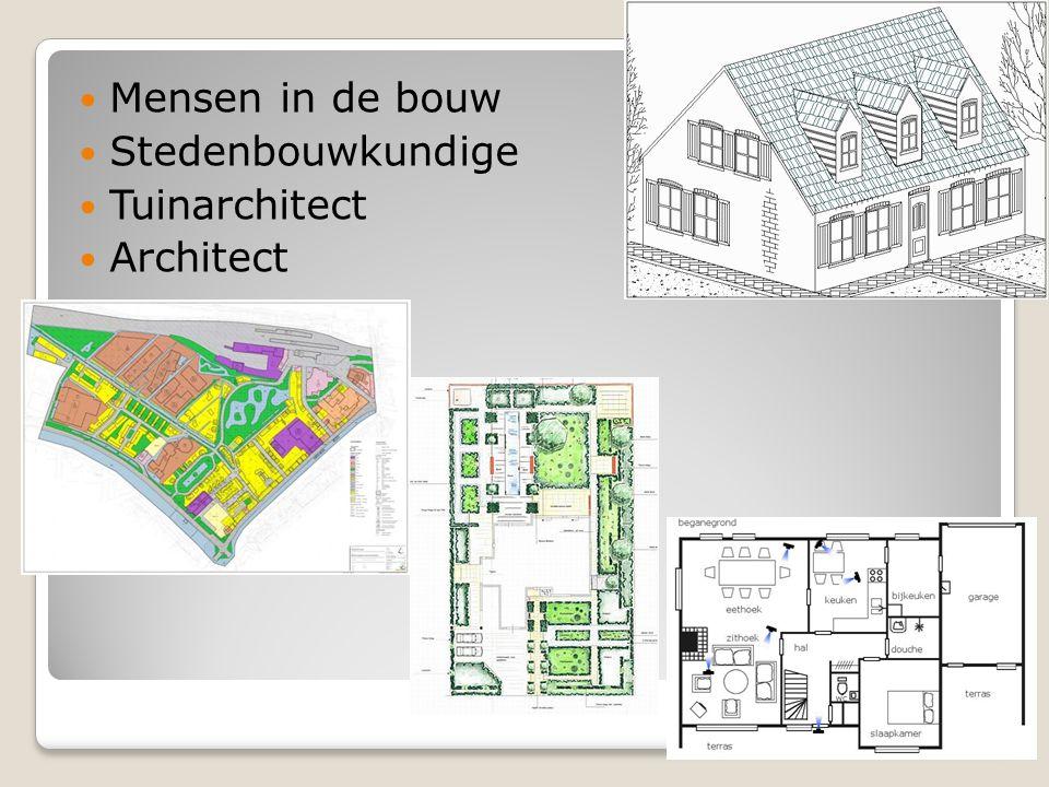 Mensen in de bouw Stedenbouwkundige Tuinarchitect Architect