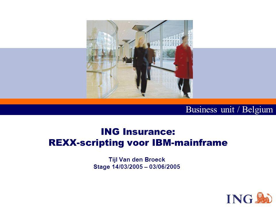 Business unit / Belgium 2 1.Inleiding 2.Situering 3.Omgevingsschets 4.Stageopdrachten 5.Besluit Overzicht