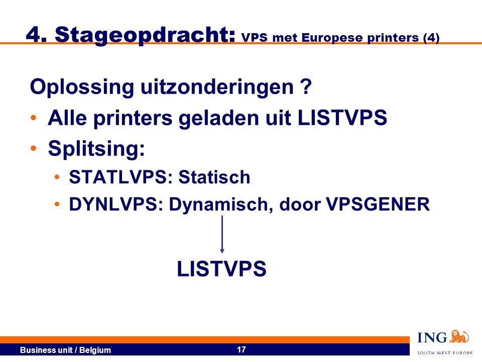 Business unit / Belgium 18 4.