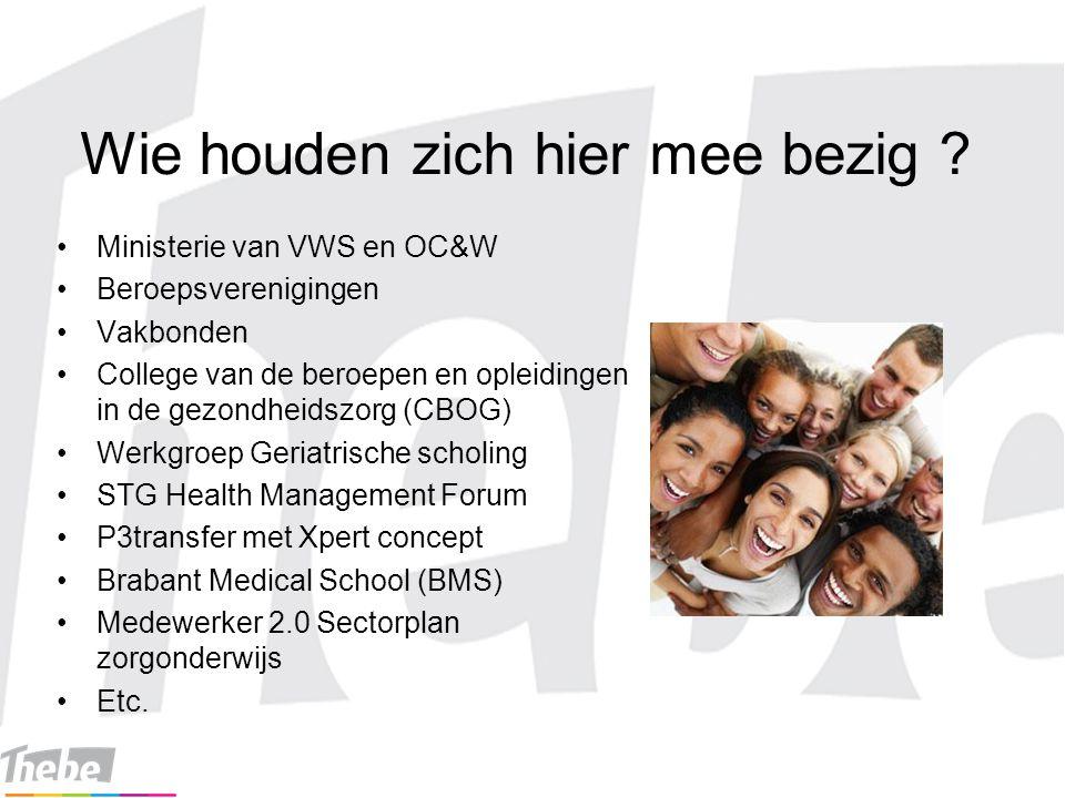 Wie houden zich hier mee bezig ? Ministerie van VWS en OC&W Beroepsverenigingen Vakbonden College van de beroepen en opleidingen in de gezondheidszorg