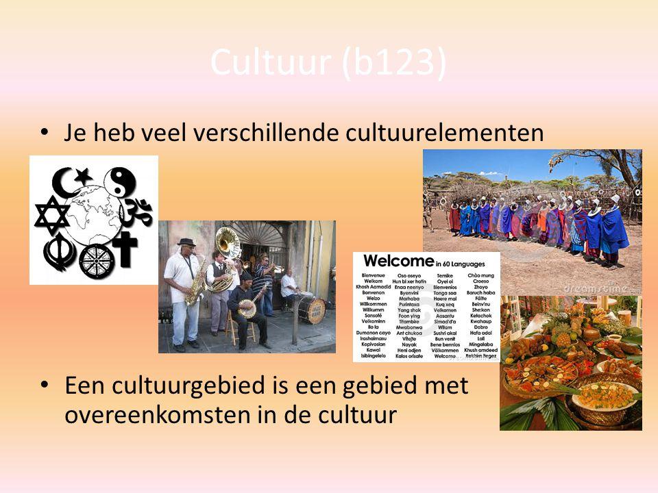 Cultuur (b123) Je heb veel verschillende cultuurelementen Een cultuurgebied is een gebied met overeenkomsten in de cultuur