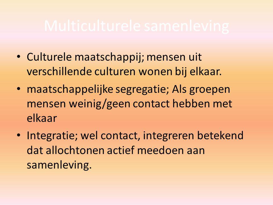 Multiculturele samenleving Culturele maatschappij; mensen uit verschillende culturen wonen bij elkaar.