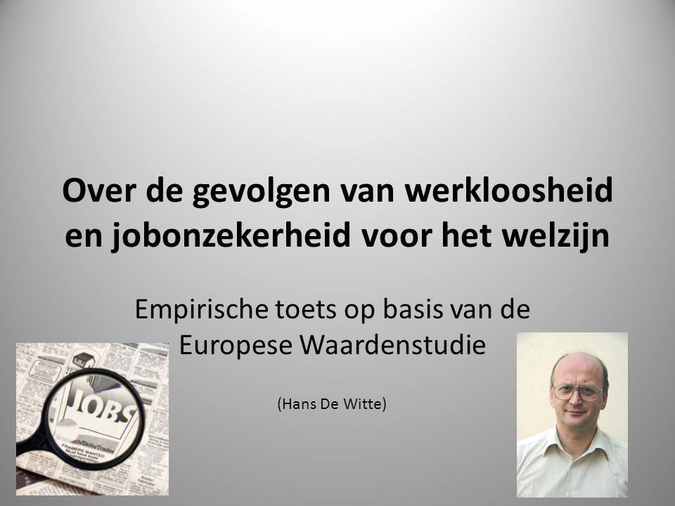  Beleving van werkloosheid en gevolgen van jobonzekerheid  Krachtlijnen worden empirisch getoetst via de data van de Europese Waardenstudie in België.
