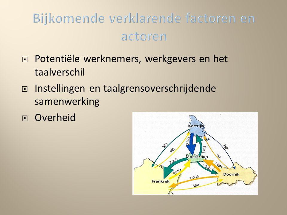 Potentiële werknemers, werkgevers en het taalverschil  Instellingen en taalgrensoverschrijdende samenwerking  Overheid