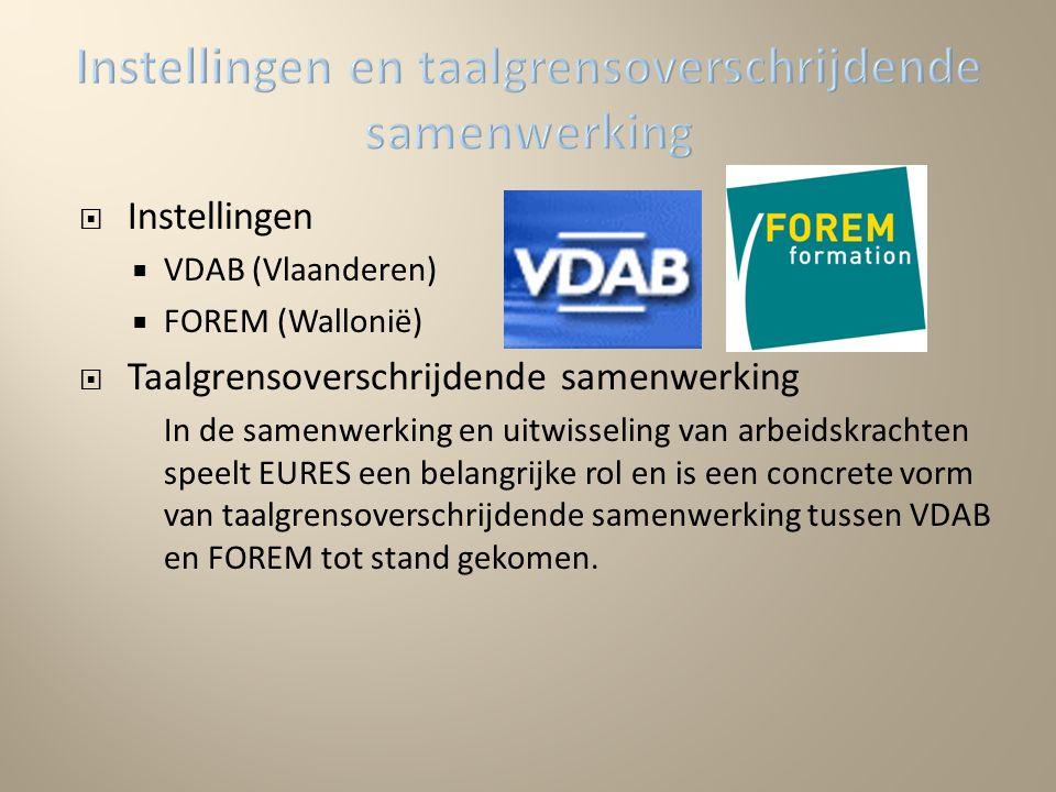  Instellingen  VDAB (Vlaanderen)  FOREM (Wallonië)  Taalgrensoverschrijdende samenwerking In de samenwerking en uitwisseling van arbeidskrachten speelt EURES een belangrijke rol en is een concrete vorm van taalgrensoverschrijdende samenwerking tussen VDAB en FOREM tot stand gekomen.