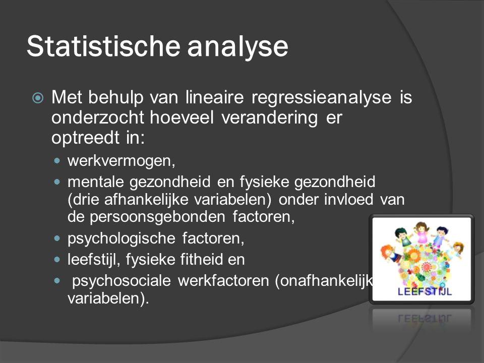 Statistische analyse  Met behulp van lineaire regressieanalyse is onderzocht hoeveel verandering er optreedt in: werkvermogen, mentale gezondheid en