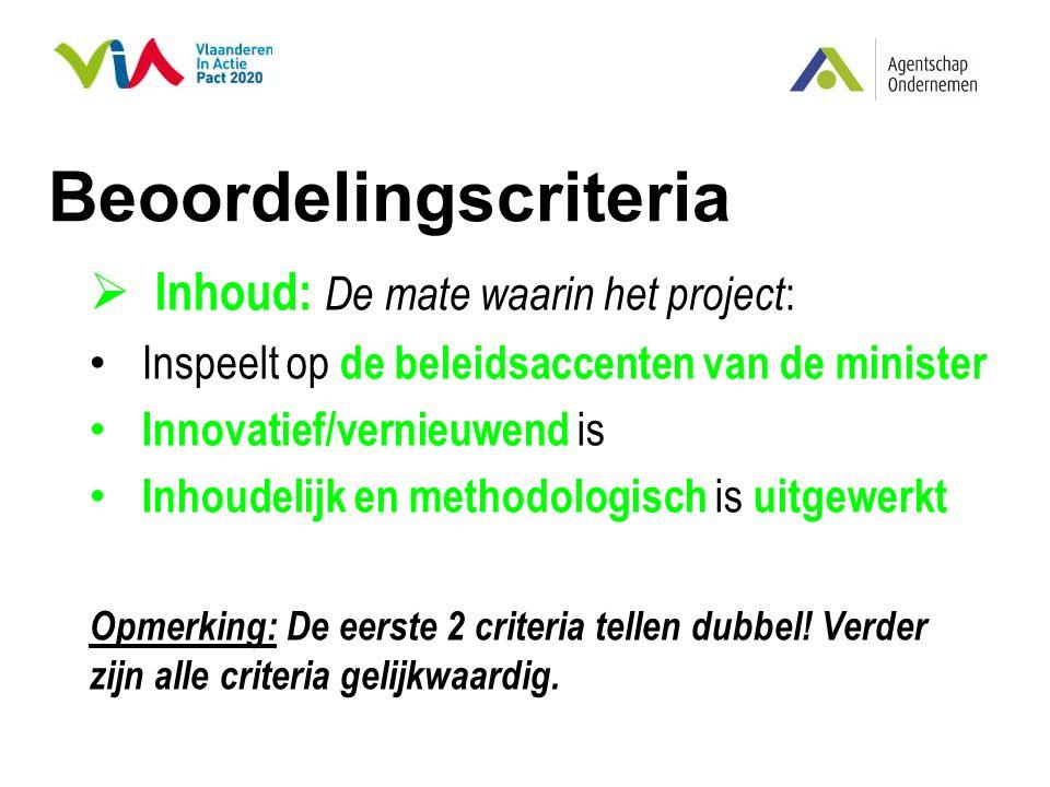 Beoordelingscriteria  Inhoud: De mate waarin het project : Inspeelt op de beleidsaccenten van de minister Innovatief/vernieuwend is Inhoudelijk en me