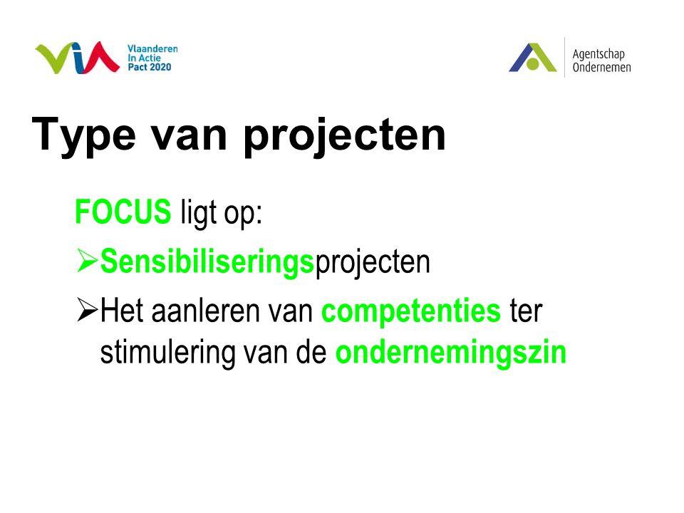 Type van projecten FOCUS ligt op:  Sensibiliserings projecten  Het aanleren van competenties ter stimulering van de ondernemingszin