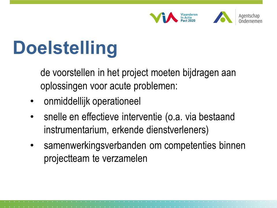 Doelstelling de voorstellen in het project moeten bijdragen aan oplossingen voor acute problemen: onmiddellijk operationeel snelle en effectieve interventie (o.a.