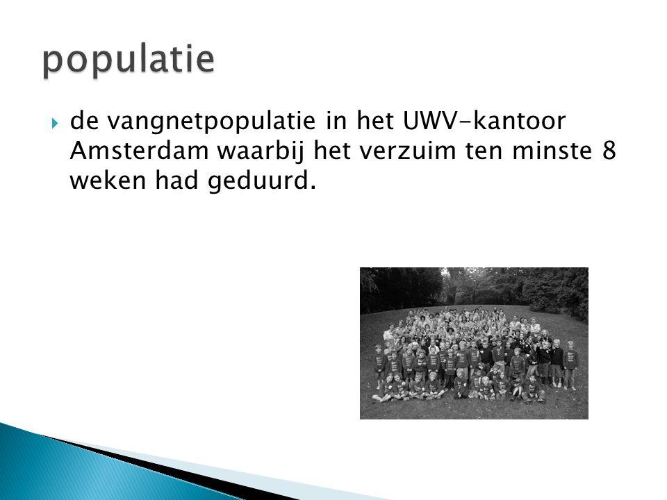  de vangnetpopulatie in het UWV-kantoor Amsterdam waarbij het verzuim ten minste 8 weken had geduurd.