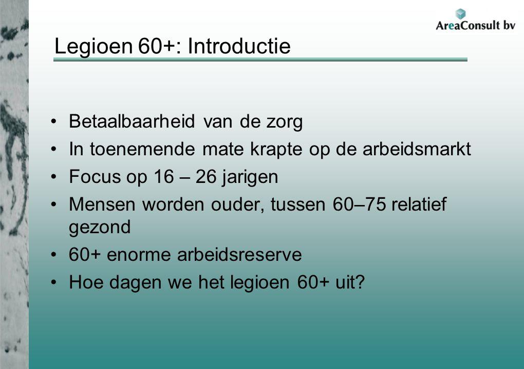 Legioen 60+: Introductie Betaalbaarheid van de zorg In toenemende mate krapte op de arbeidsmarkt Focus op 16 – 26 jarigen Mensen worden ouder, tussen 60–75 relatief gezond 60+ enorme arbeidsreserve Hoe dagen we het legioen 60+ uit