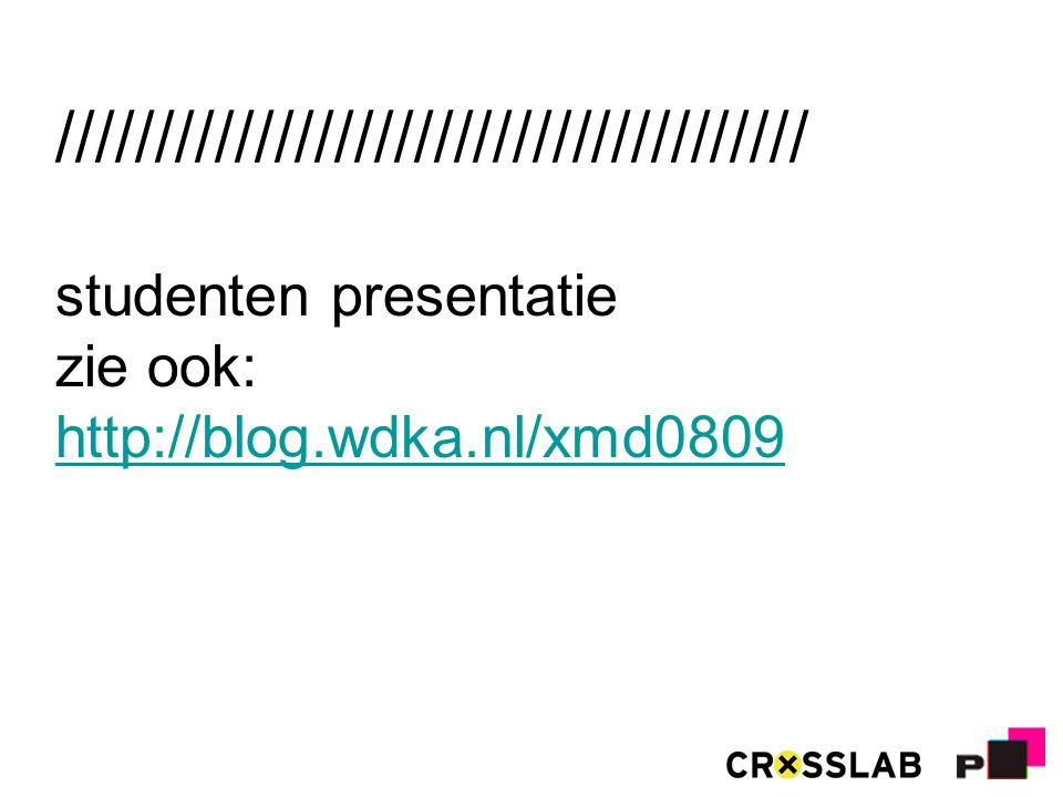 ////////////////////////////////////// studenten presentatie zie ook: http://blog.wdka.nl/xmd0809 http://blog.wdka.nl/xmd0809