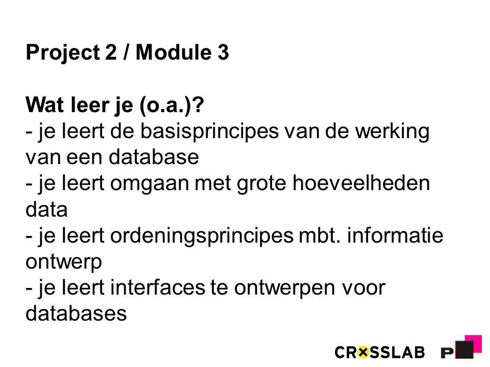 Project 2 / Module 3 Wat leer je (o.a.).