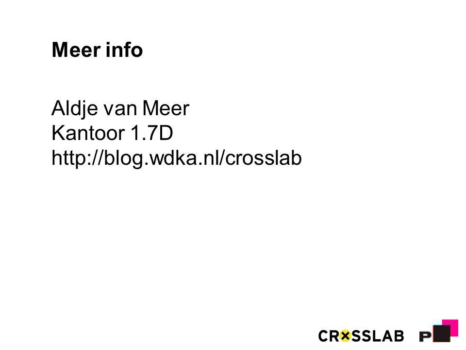 Meer info Aldje van Meer Kantoor 1.7D http://blog.wdka.nl/crosslab