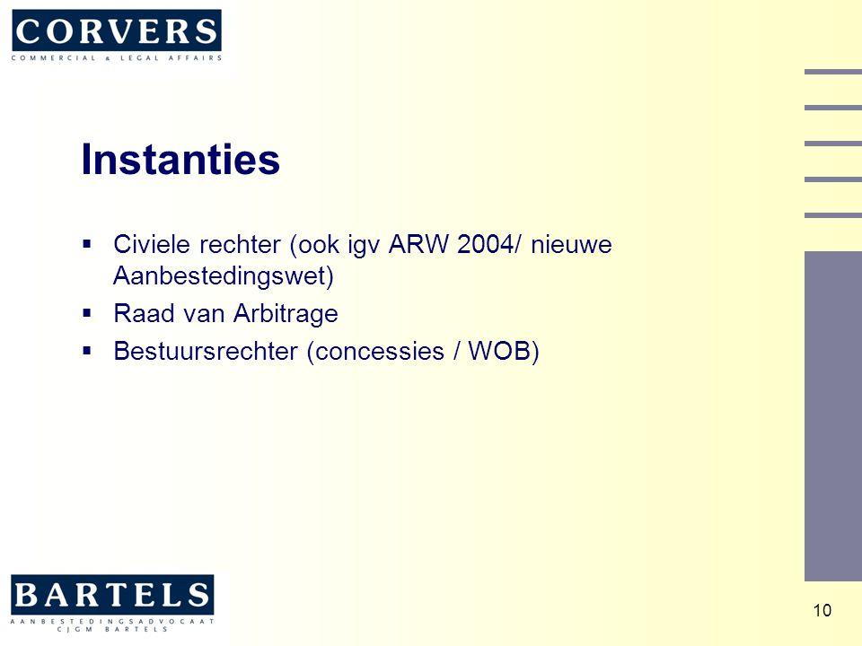 10 Instanties  Civiele rechter (ook igv ARW 2004/ nieuwe Aanbestedingswet)  Raad van Arbitrage  Bestuursrechter (concessies / WOB)