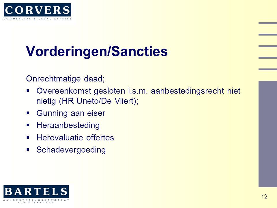 12 Vorderingen/Sancties Onrechtmatige daad;  Overeenkomst gesloten i.s.m. aanbestedingsrecht niet nietig (HR Uneto/De Vliert);  Gunning aan eiser 
