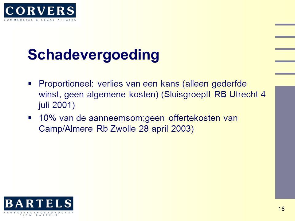 16 Schadevergoeding  Proportioneel: verlies van een kans (alleen gederfde winst, geen algemene kosten) (SluisgroepII RB Utrecht 4 juli 2001)  10% va