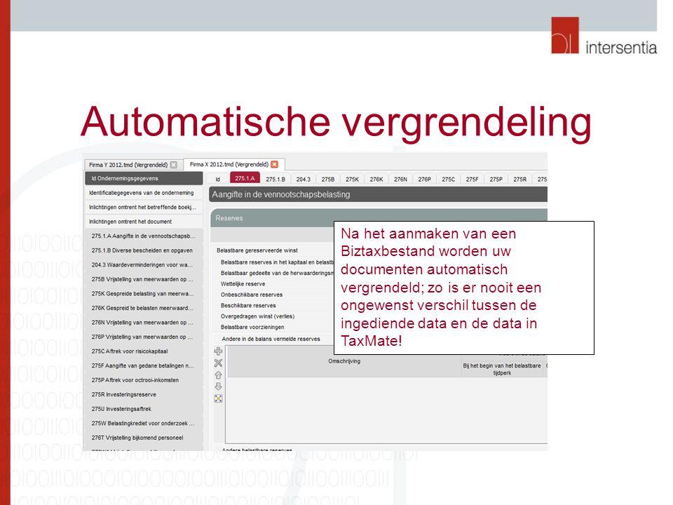 Automatische vergrendeling Na het aanmaken van een Biztaxbestand worden uw documenten automatisch vergrendeld; zo is er nooit een ongewenst verschil tussen de ingediende data en de data in TaxMate!