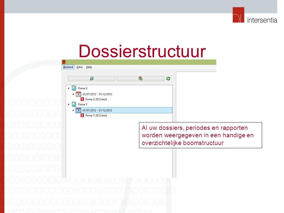 Dossierstructuur Al uw dossiers, periodes en rapporten worden weergegeven in een handige en overzichtelijke boomstructuur