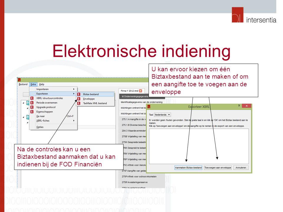 Elektronische indiening Na de controles kan u een Biztaxbestand aanmaken dat u kan indienen bij de FOD Financiën U kan ervoor kiezen om één Biztaxbestand aan te maken of om een aangifte toe te voegen aan de enveloppe