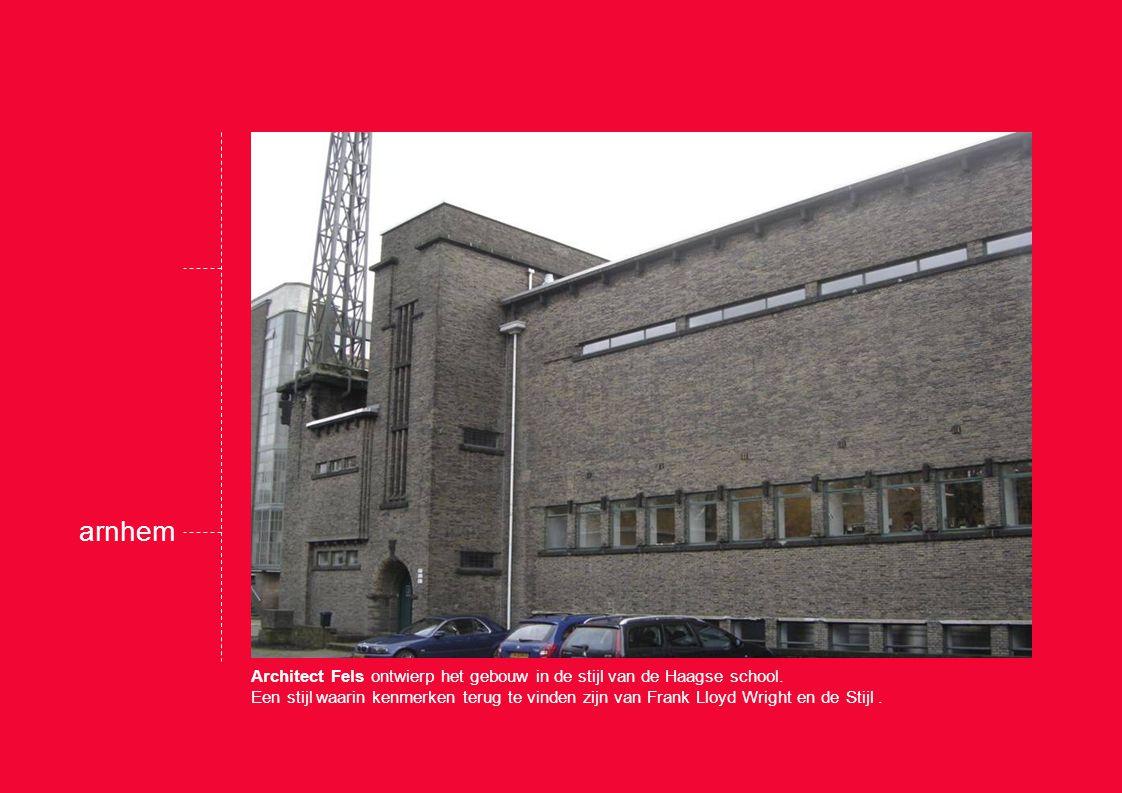 Architect Fels ontwierp het gebouw in de stijl van de Haagse school.