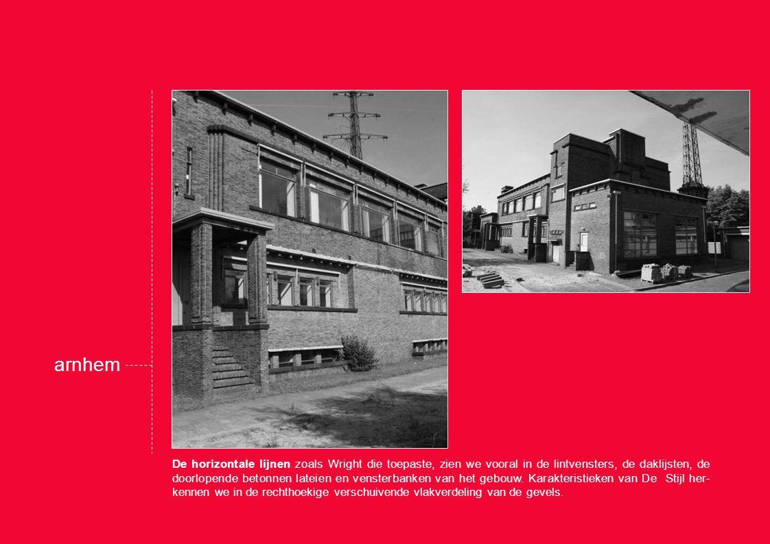 De horizontale lijnen zoals Wright die toepaste, zien we vooral in de lintvensters, de daklijsten, de doorlopende betonnen lateien en vensterbanken van het gebouw.